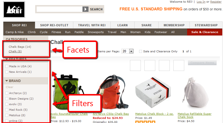 Considerations for Facets and Filters in eCommerce