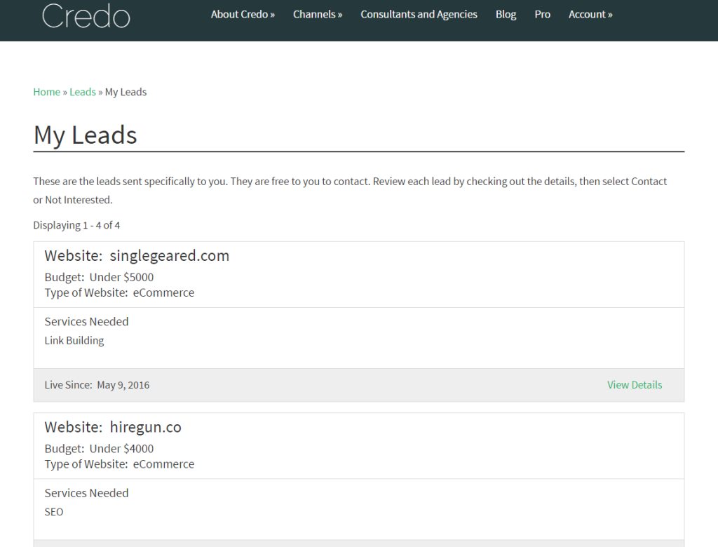 leads-front-end-listing