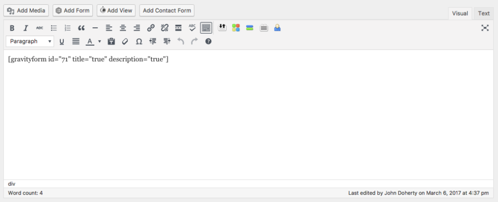 Literally all that's needed to embed the form.