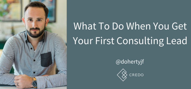 What To Do When You Get Your First Consulting Lead