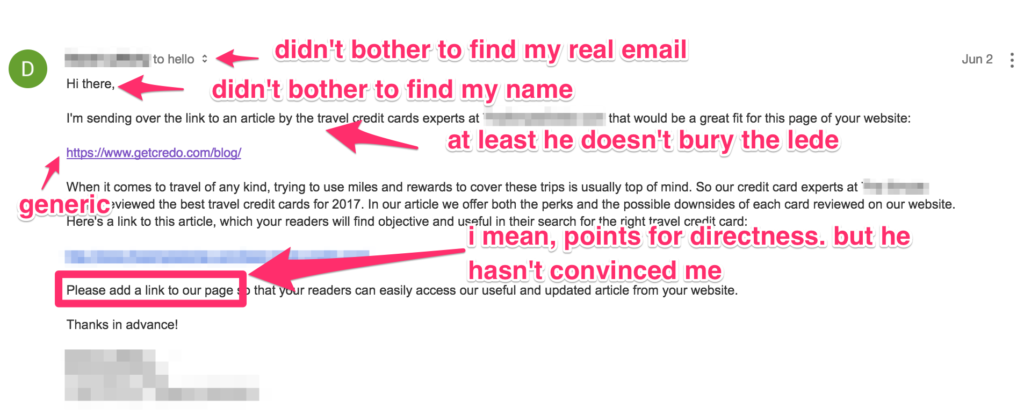 Examples of bad outreach emails | John Doherty